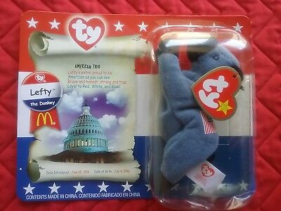 TY MacDonalds 1996 Lefty the Donkey Beanie Baby New in Package