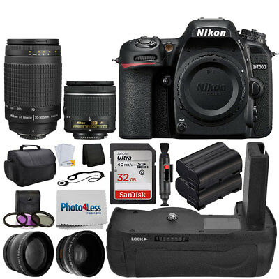 Nikon D7500 Digital Camera + 18-55mm VR +70-300mm +Top Value Battery Grip Bundle