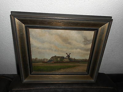Old oil painting, { Landscape with a farm and a windmill, is signed} antique !