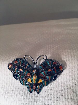 Beautiful Vintage Enameled Silver Filigree Butterfly Pin