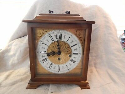 "Vintage Franz Hermle Wood Carriage Mantel Clock 9.5"" x 8"""