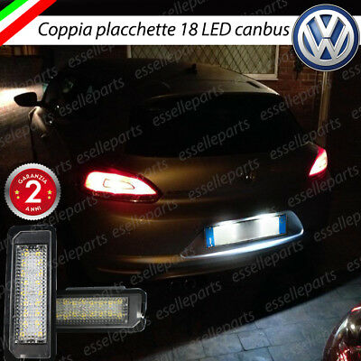 Coppia Luci Targa 18 Led Placchette Complete Vw Scirocco 6000K Bianco Canbus