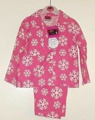 ee7e08b21 BABY GIRLS PINK Snow Flakes Brushed Cotton Pyjamas 12-18   18-24 ...