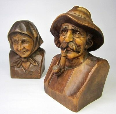 Vtg Black Forest Hand Carved Bust Old Man with Pipe & Lady in Shawl Excellent Co