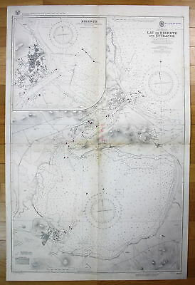 1936 Mediterranean - Tunisia - North Coast - Lac de Bizerte Tunesien map