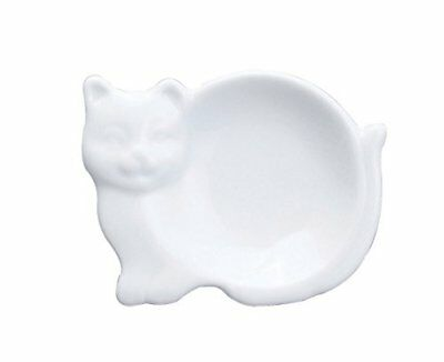 Hic Cat-Shaped Tea Bag Holder And Resting Caddy, Fine White Porcelain, 3.75-Inch