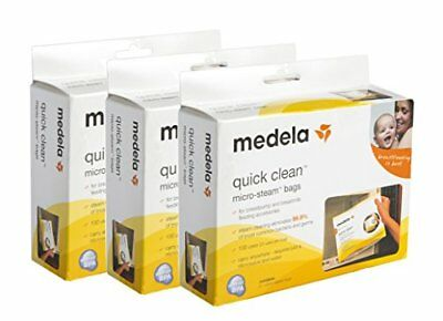 3 Boxes Of Medela Quick Clean Micro-Steam Bags. 5 Bags Per Box *New*