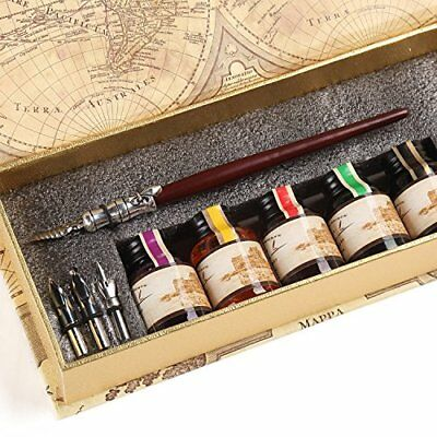 Gc Quill Calligraphy Pen Set Writing Case With 5 Bottle Ink *New*