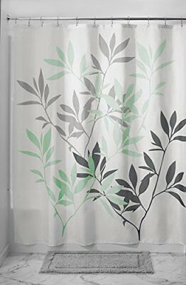 Mdesign Leaves Fabric Shower Curtain