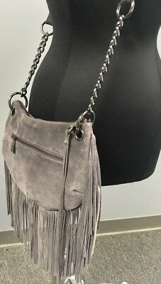 SORIAL Gray Suede Fringed Silver Chain Accent Crossbody Purse EUC Zip Top B4309