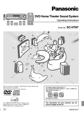 PANASONIC SC-HT67 HOME Theater System Owners Instruction