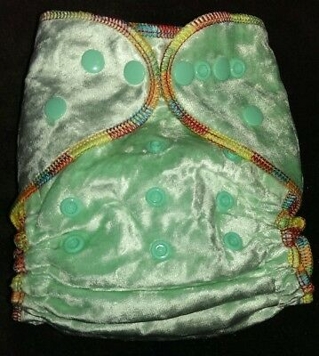 1 New Mint Bamboo Velour Cloth Diaper Nappy Adjustable 8-33lbs, Free Insert!