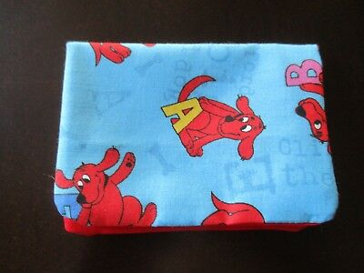 Fabric credit card, gift card, business card holder.  Clifford the dog pattern