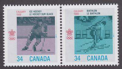 Canada 1987 #1112a 1988 Olympic Winter Games MNH Se-tenant pair (hockey on left)