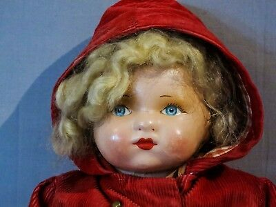Antique Deans Rag Book Character Child Cloth Doll approximately 14 1/2 inch