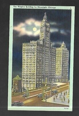 Vintage Postcard Linen Wrigley Building Chicago ILLinois Full Moon Old Cars