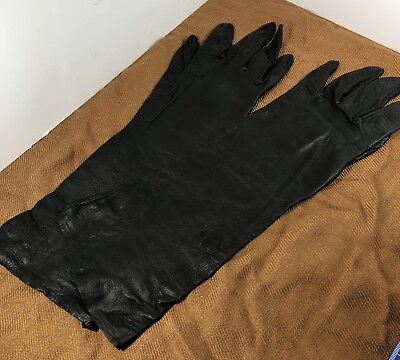 Vintage Ladies Black Leather Long Dress Gloves Made In Italy Size 7 1/2