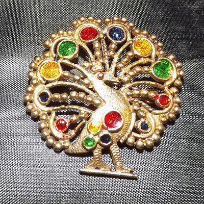 Peacock Brooch. Interesting Design. Great Condition.
