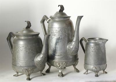 Antique German Art Nouveau Pewter Tea/Coffee Service Gerhardi #1769 c.1900