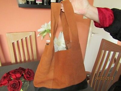 Soft Grey, French shopper / hobo 100% premium Brown and Tan Leather and Suede