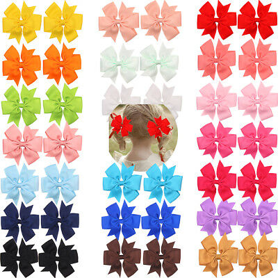 40 Color 20 Pair Baby Girls Pinwheel Bows Alligator Hair Clips For Kids Headband
