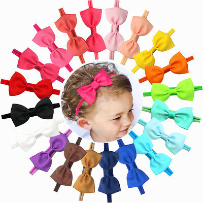 20 Baby Girl Headband Bow Grosgrain Ribbon Hair Bow Hair Band for Newborn infant
