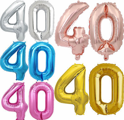 "Giant 40th Birthday Party Number 40 Foil Self Inflating Balloon Air 32"" Age 40"