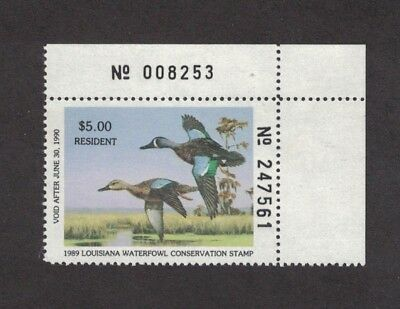 LA1 - Louisiana First Of State Duck Stamp. Plate Numbered Single. MNH. OG.