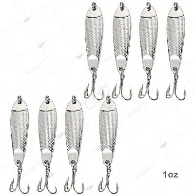 20pcs 2oz Fishing Spoons Hopkins style Hammered Chrome Silver Fish Shorty Lures