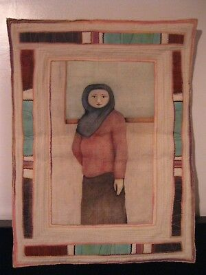 VTG Textile Art Quilted Artist Signed SUSAN BECK Wall Hanging Portrait Woman EUC