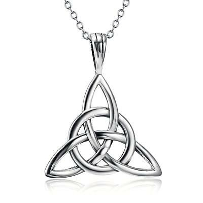 925 Sterling Silver Good Luck Irish Celtic Knot Triangle Vintage Pendant...