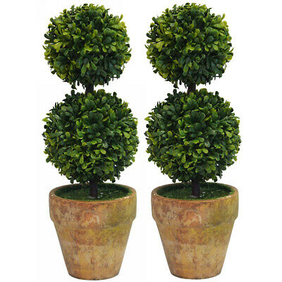 Set of 2 21cm Double Ball Topiary Potted Artificial Plant Greenery