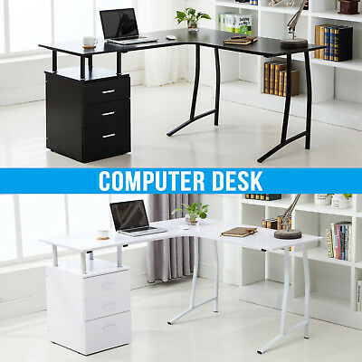L-Shape Black/White Corner Computer Desk Home Office PC Table with 3 Drawers