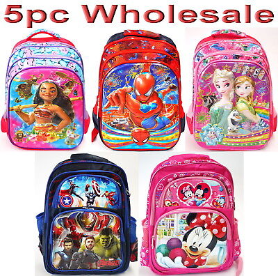 4pc Wholesale Large Kids 4D Moana PJ Masks Backpack School Bags 30x40cm Mixed