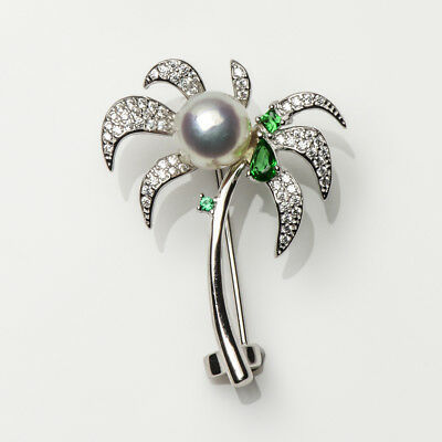 """8-8.5mm White Real Akoya Pearl Coconut Tree Brooch Pin 925 Sterling Silver 1.37"""""""