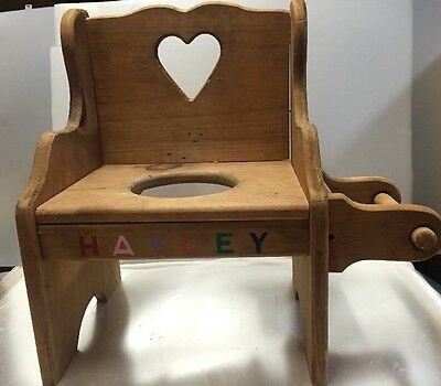 Vintage Handmade Wooden Child's Potty Bathroom Chair from the 80's