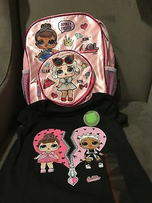 NEW RELEASE Girls LOL Surprise! Licensed Mini Backpack Pink L.O.L. & New Shirt S