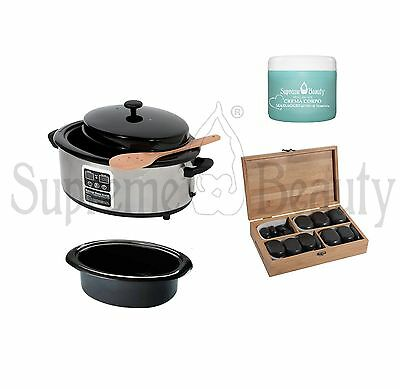 Kit Hot Stone 36 Pietre + Fornetto Scaldapietre + Crema Massaggio Supreme Beauty