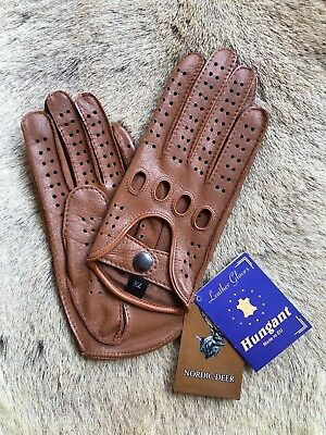 Camel Brown Driving Leather Gloves Women's Deerskin Hungant Gloves