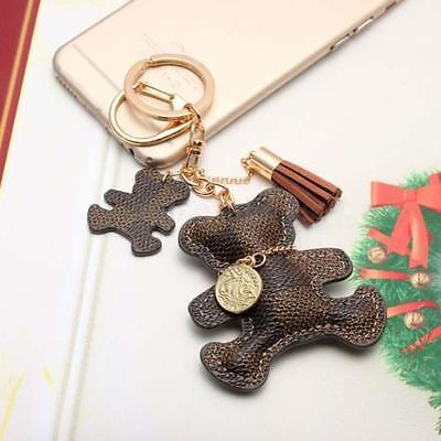 Womens Purse Handbag Key Phone Chain Leather Cute Bear Tassel Style Keyring