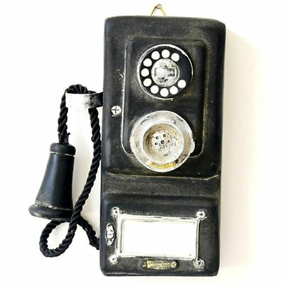 Retro Rotary Telephone Statue Shabby Chic Old Corded Phone Figurine Wall Mount