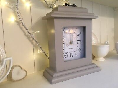 Butterfly Clock Shabby Vintage Chic Mantel French Stone Grey Taupe Wood 24cm