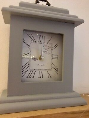 Butterfly Clock Shabby Vintage Chic Mantel French Dove Grey Carriage Wood 24cm