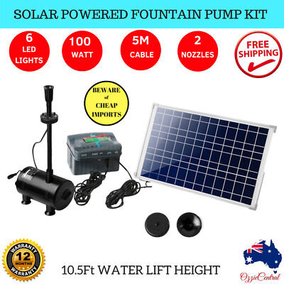 100w Solar Powered Fountain Battery Outdoor Fountains Water Pump Led