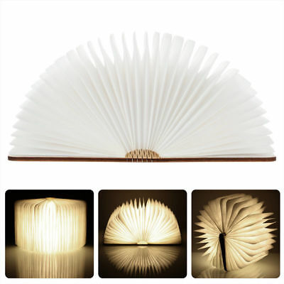 Wooden Folding Book Light Reading Night Light Table LED Lamp with USB charging