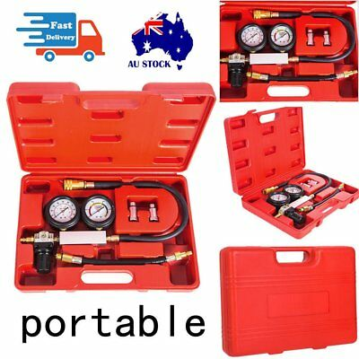 Cylinder Engine Compression Tester Kit Set For Automotives and Motorcycles Red