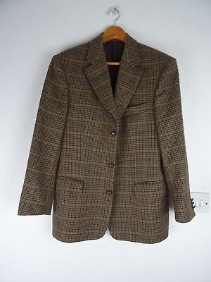Burberry woven in British Isles mans vintage wool tweed checked jacket size XS