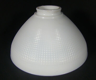 "Vintage 10"" White Milk Glass Waffle Pattern Torchiere Light Shade"