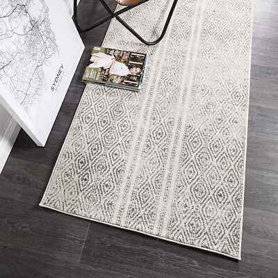 HARBOR GREY IVORY BOHO TRIBAL MOROCCAN MODERN FLOOR RUG RUNNER 80x400cm **NEW**