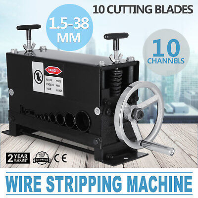 1.5-38mm CABLE WIRE STRIPPING MACHINE COPPER STRIPPER 10 CUTTING BLADES